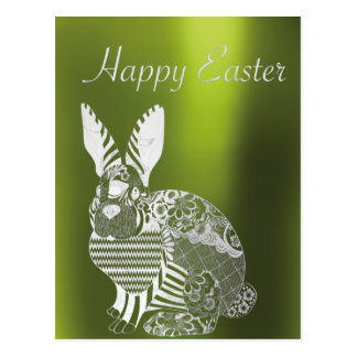 Happy Easter Greetings Greenery Metallic Rabbit Postcard
