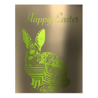 Happy Easter Greetings Sepia Green Metallic Rabbit Postcard