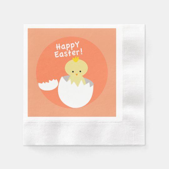 Happy Easter Hatching Chick Peach Coined Disposable Napkins