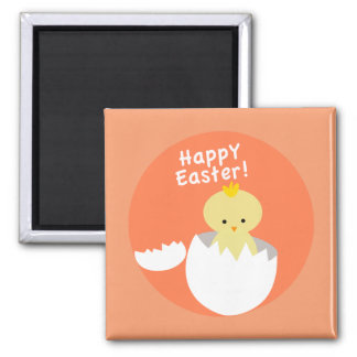 Happy Easter Hatching Chick Square Magnet