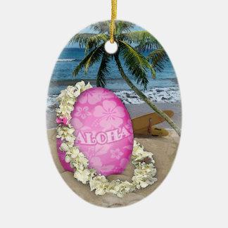 Happy Easter Hawaiian Style Ceramic Ornament
