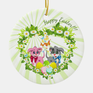 Happy Easter Heart Nose Puppies Cartoon Round Ceramic Ornament