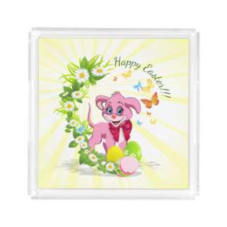 Happy Easter Heart Nose Puppy Cartoon Acrylic Tray