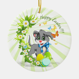 Happy Easter Heart Nose Puppy Cartoon Ceramic Ornament