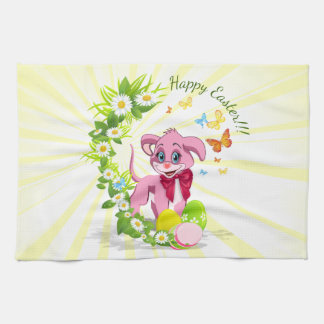 Happy Easter Heart Nose Puppy Cartoon Kitchen Towel
