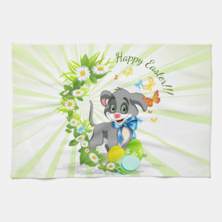 Happy Easter Heart Nose Puppy Cartoon Kitchen Towels