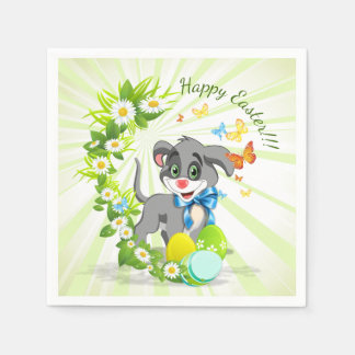 Happy Easter Heart Nose Puppy Cartoon Napkin