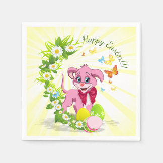 Happy Easter Heart Nose Puppy Cartoon Paper Napkin