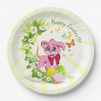 Happy Easter Heart Nose Puppy Cartoon Paper Plate
