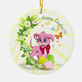 Happy Easter Heart Nose Puppy Cartoon Round Ceramic Ornament