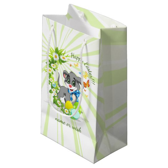 Happy Easter Heart Nose Puppy Cartoon Small Gift Bag