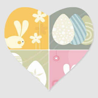 Happy Easter Heart Stickers