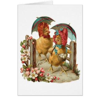 Happy Easter Hens Vintage Card