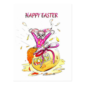 Happy Easter Honey Bunny fun pink Greeting Card Postcard