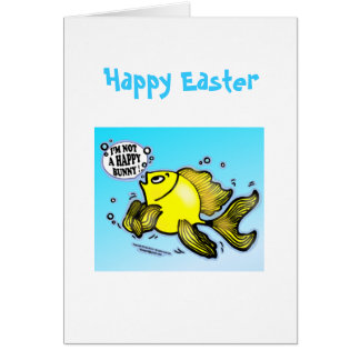 HAPPY EASTER I'm not a Happy Bunny funny greeting Greeting Card
