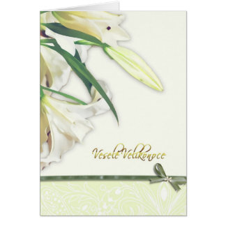 Happy Easter in Czech, white lilly card
