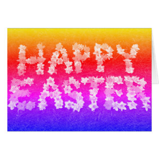 Happy Easter in daffodils rainbow photograph Card