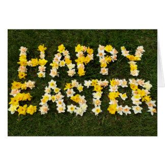 Happy Easter in daffodils spring grass photograph Card