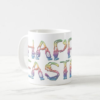 Happy Easter in rabbit letters Classic Mug