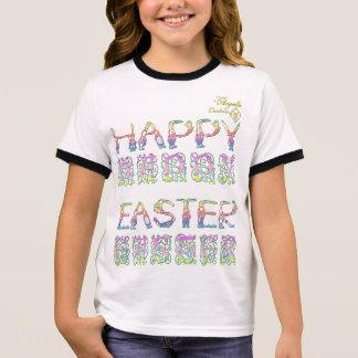Happy Easter in rabbit letters Girls Ringer TShirt