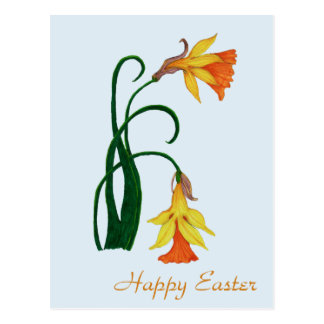 Happy Easter, Jonquil, Easter Lily Flower Postcard