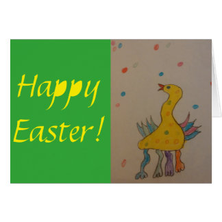 Happy Easter Kids Drawing Greeting Card
