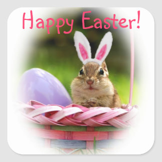 Happy Easter Little Chipmunk Square Sticker