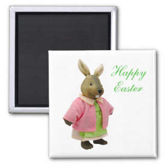 Happy Easter Magnet - Pink and green Bunny Rabbit