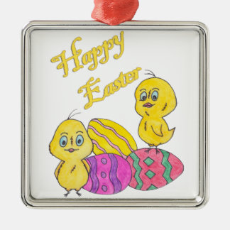Happy Easter Metal Ornament