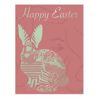 Happy Easter Monroe Greeting Rabbit Burgundy Mint Postcard