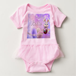 Happy Easter Name Bunny Eggs Baby Tutu Baby Bodysuit