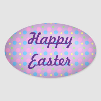 Happy Easter Oval Sticker