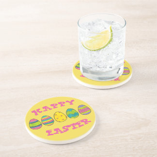 Happy Easter Painted Egg Hunt Eggs Yellow Pink Coaster