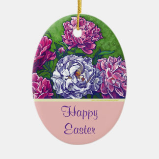 Happy Easter Peonies Decoration Christmas Tree Ornament