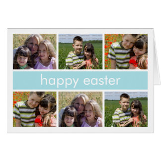 Happy Easter Photo Collage Light Blue Folded Card