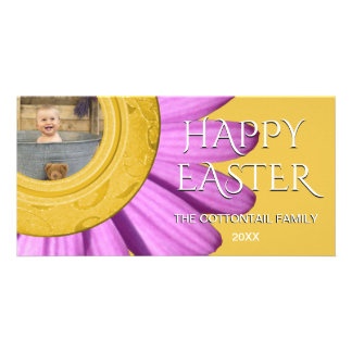 Happy Easter Photo | Daisy Spring Purple Yellow Card