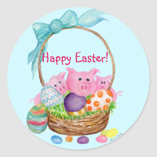Happy Easter pigs, eggs in Easter basket stickers