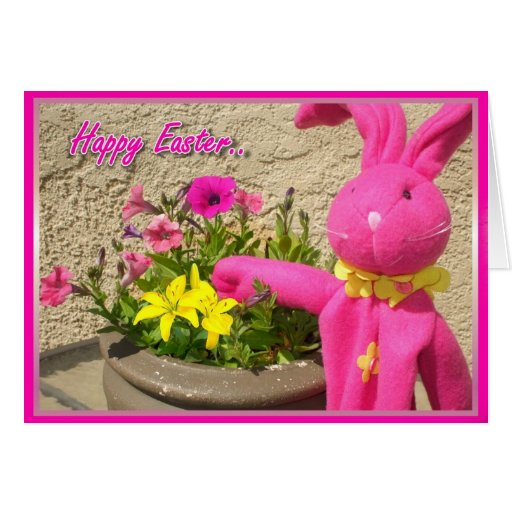 Happy Easter pink bunny greeting card