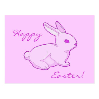 Happy Easter Pink Bunny Postcard Greeting Card