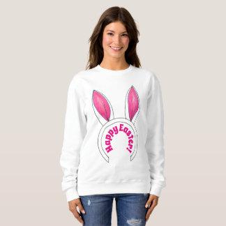 Happy Easter Pink White Bunny Rabbit Ears Sweatshirt