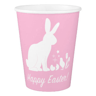 Happy Easter Plate with Bunny, Chick and Tulips Paper Cup