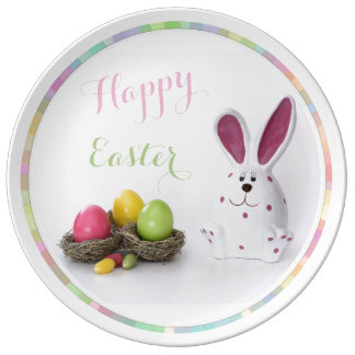HAPPY EASTER  PORCELAIN BUNNY EGG BASKET PLATE