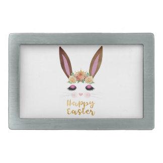 Happy Easter Princess Bunny Face Belt Buckle
