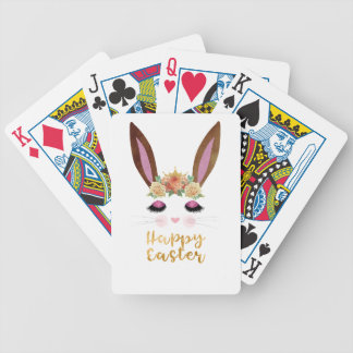 Happy Easter Princess Bunny Face Bicycle Playing Cards