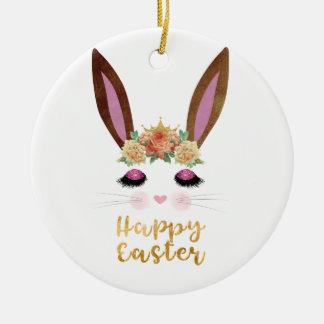 Happy Easter Princess Bunny Face Ceramic Ornament