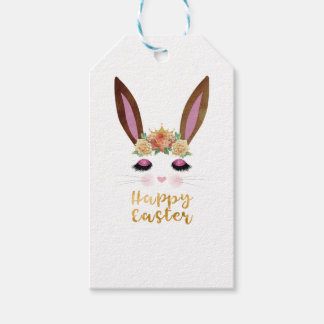 Happy Easter Princess Bunny Face Gift Tags