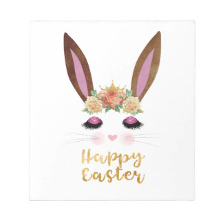 Happy Easter Princess Bunny Face Notepad
