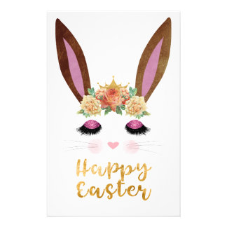 Happy Easter Princess Bunny Face Stationery