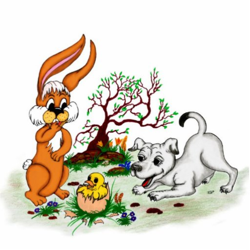 Happy Easter! Puppy, chicken, hare - magnet Photo Cutout