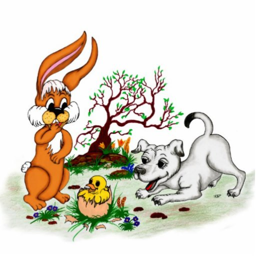 Happy Easter! Puppy, chicken, hare - sculpture Photo Sculpture